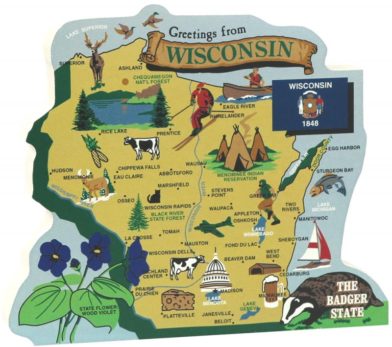 """""""Greetings from Wisconsin"""" postcard-style map"""